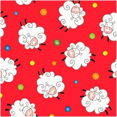Látky Patchwork - Ovečky na červené