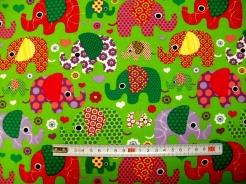 vzor 123483-3004 JERSEY - sloni na zelené -