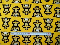 Látky - vzor 123745-3001 Opice na žluté - JERSEY -