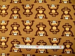 Látky Patchwork - Opice na hnědé