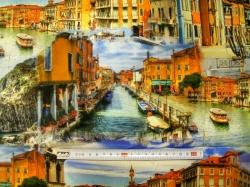 Látky - vzor 37001-351 Benátky - Šířka 160  cm