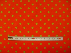 vzor 123751-0804 Zelený puntík na oranžové - JERSEY -