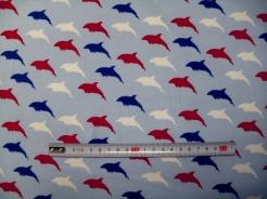 vzor 125057-3002 Delfíni na modré  -  JERSEY -