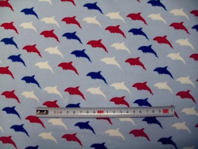 Látky Patchwork - Delfíni na modré  -  JERSEY