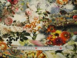 Látky Patchwork - JERSEY -  květiny obraz