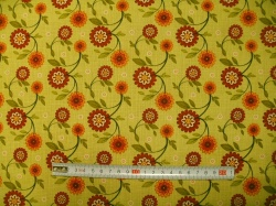 Látky - vzor 601042 Sun Flower Garden - květy zelené -