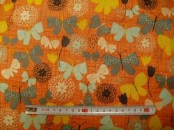 Látky Patchwork - Bloom  -  motýli na oranžové