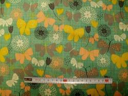 Látky - vzor 60992 Bloom  -  motýli na zelené -
