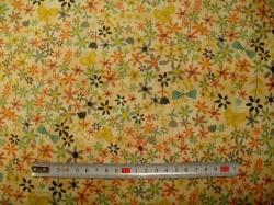 Látky - vzor 60993 Bloom  - kytky na žluté -