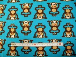 Látky - vzor 123745-3008 Opice na modré  - JERSEY -