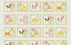Látky - vzor 4705-048 Butterfly Botanical 048 - panel  - Panel, opakuje se po 60 cm
