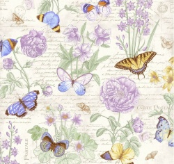 Látky - vzor 4702-874 Butterfly Botanical 874 -