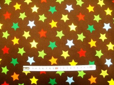 Látky Patchwork - Teplákovina - Hvězdy na hnědémodré