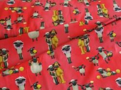 vzor 997001-0002 Ovečka  SHAUN na červené - JERSEY - Digitální tisk