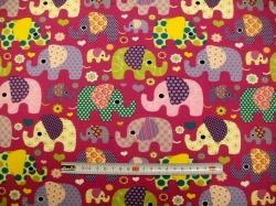 Látky - vzor 123483-3008 Sloni na fialové  JERSEY -