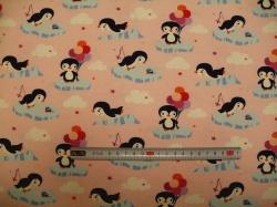Látky - vzor 126130-3003 Tučňák na růžové - JERSEY -