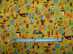 Látky Patchwork - Námořní motiv na žluté - taškovina