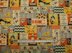 Látky Patchwork - Režná - patchwork 03 - taškovina