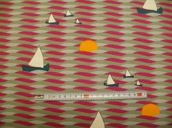 Látky Patchwork - Vlnky a lodičky 01 - JERSEY