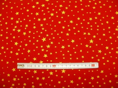 Látky Patchwork - Hvězdičky 04 na červené