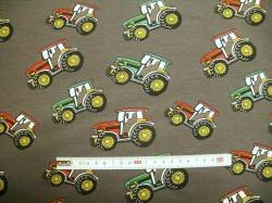 Látky - vzor 711-01 JERSEY - traktory 01 na šedé -