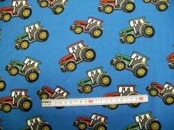 Látky - vzor 711-02 JERSEY - traktory 01 na modré -