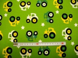 Látky - vzor 711-03 JERSEY - traktory 02 na zelené -