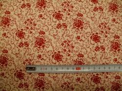 Látky - vzor 127487-0806 Červené květy na krémové -