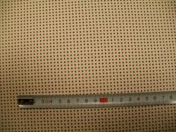 Látky Patchwork - JERSEY -  Červeno-modrý puntík na béžové