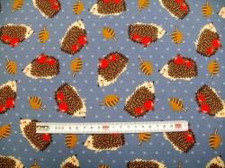 vzor 170111-02 JERSEY - ježci na modré -