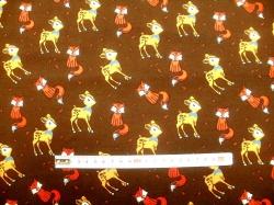 vzor 170111-10 JERSEY - srnky, lišky na hnědé -