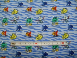 Látky - vzor 170111-11 JERSEY -  rybičky na vlnáchhevron -
