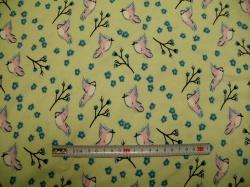 Látky - vzor 128408-3007 Ptáčci na zelené -