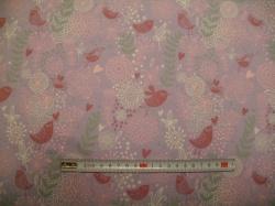 Látky - vzor 128405-3007 Ptáčci a květy na fialové -