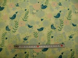 Látky - vzor 128405-3008 Ptáčci a květy na zelené -