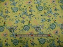 Látky - vzor 128407-3008 Květy na zelené -