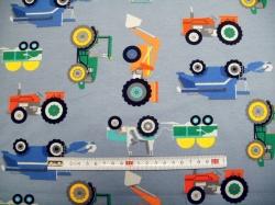 Látky - vzor 128541-3004 Traktory na bledě modré -