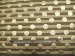 Látky - vzor 2487-063 Stříbrný puntík na proužku - Stříbrotisk