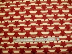 Látky - vzor 9541-013 Růžová hvězda na proužku - Stříbrotisk