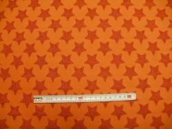 Látky - vzor 9540-037 Oranžová hvězda na oranžové - Stříbrotisk