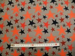 Látky - vzor 3458-062 Barevné hvězdy na šedé -