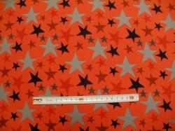 Látky Patchwork - Barevné hvězdy na oranžové