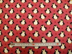 Látky - vzor 3472-013 Tučňáci na růžové -