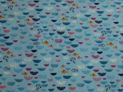 Látky Patchwork - Rybičky na modré