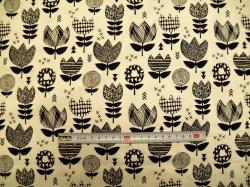 vzor 129083-3003 Tulipány černé - EKO TEX  třída 1  - do 3 let