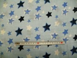 vzor  129187-3002 Gázovina dvojitá  hvězdy na modré - EKO TEX tř. 1