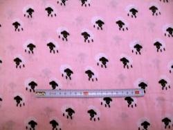 vzor  129189-3001 Gázovina dvojitá  ovečky na růžové - EKO TEX tř. 1