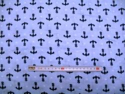 vzor  129190-3002 Gázovina dvojitá  kotvy na modré - EKO TEX tř. 1