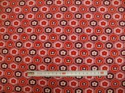Látky Patchwork - JERSEY - květy červené