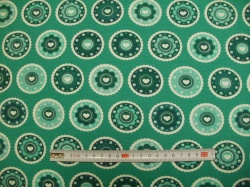 vzor 170710-07 JERSEY - mandely smaragdové - EKO TEX  třída 1  - do 3 let